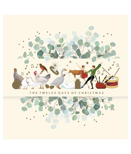 Festive Twelve Days Christmas Cards - Pack of 10