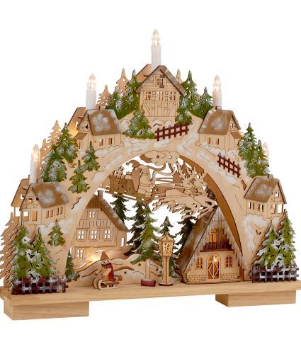 Wooden Christmas Village Light