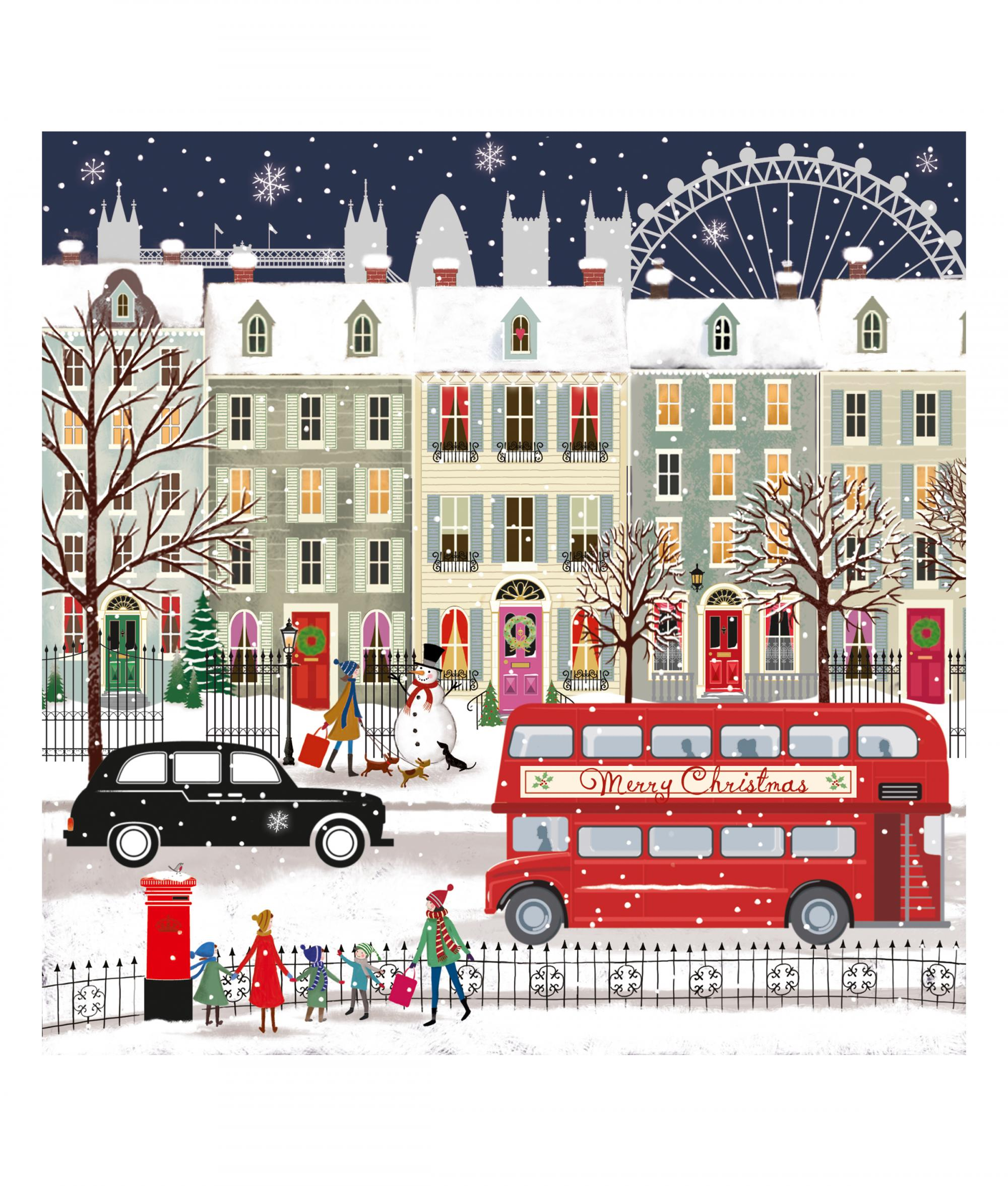 London Bus Christmas Card Pack Of 10 Cancer Research Uk Online Shop