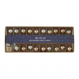Set of 20 LED Gold & Silver Glass Bauble String Lights