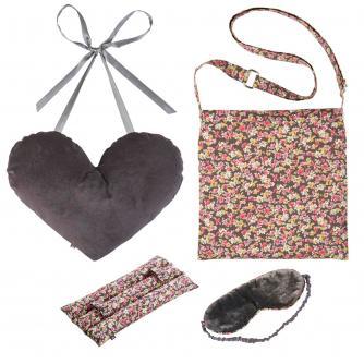 4 Piece Mastectomy Gift Collection in Grey Velvet & Flower Print