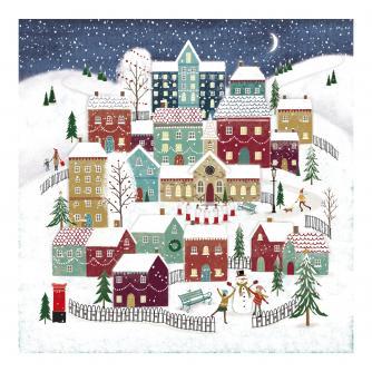 Moonlit Village Christmas Cards - Pack of 10