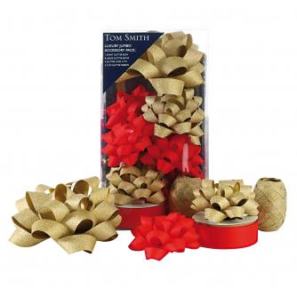 Tom Smith Jumbo Glitter Red & Gold Accessory Pack