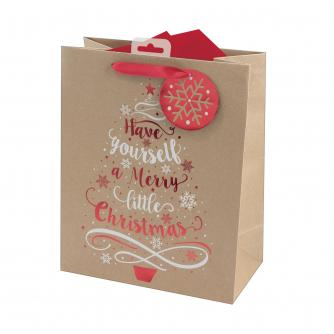 Have Yourself A Merry Little Christmas Kraft Paper Gift Bag - Large