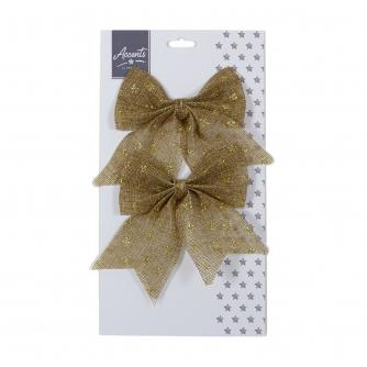 Natural Star Print Gift Wrap Bow Twin Pack
