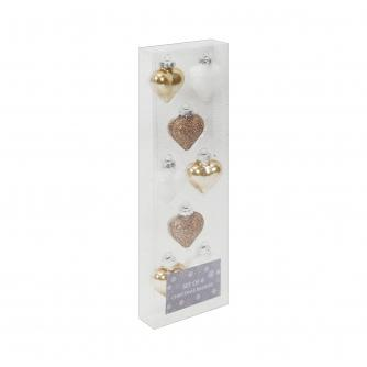 Gold & White Glass Heart Baubles, Set of 8