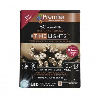 50 Warm White LED Indoor/Outdoor Battery Operated Timer Lights