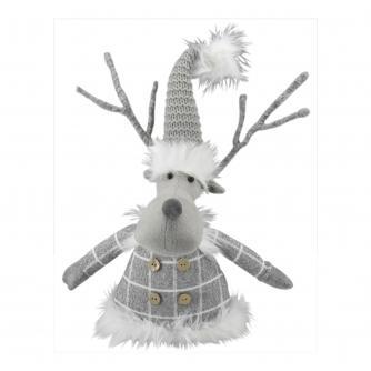 Sitting Grey Reindeer Door Stop