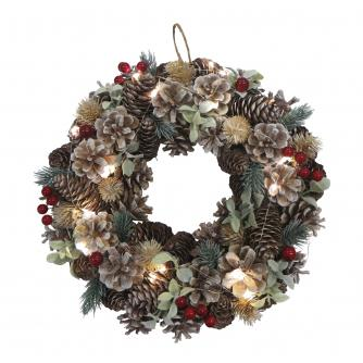 LED Lit Pine Cone, Berry & Eucalyptus Wreath