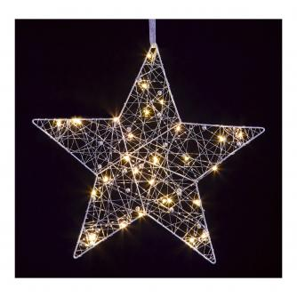 Silver & Warm White LED Star Hanging Decoration