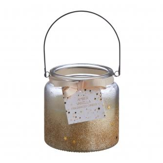 Gold Glitter Glass Candle Holder