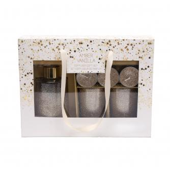 Gold Glitter Candle & Diffuser Gift Set