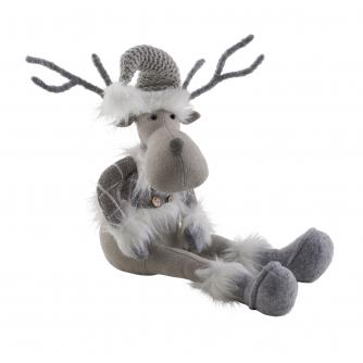 Grey Festive Fabric Reindeer