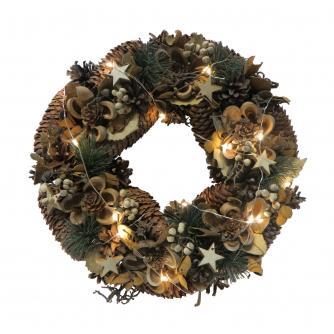 LED Natural Foliage Christmas Wreath