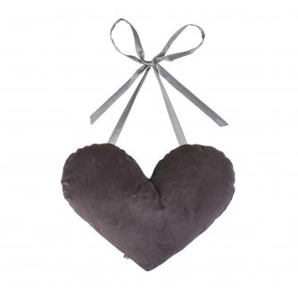 Heart Tie Cushion in In Grey Velvet
