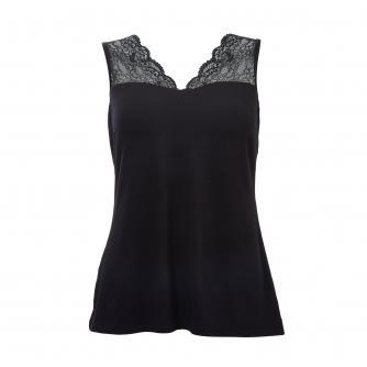 Amoena V-neck Lace Pocketed Vest in Black