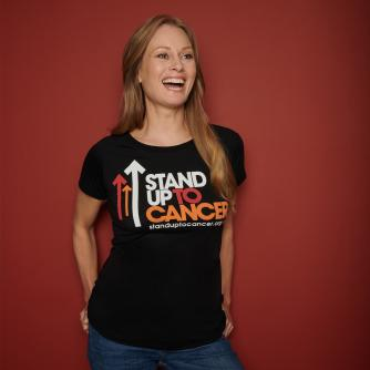 Stand Up To Cancer Women's Full Logo Black T-Shirt