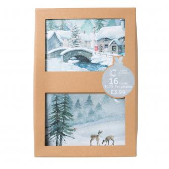 Winter Watercolour Scenes Duo Recyclable Christmas Cards - Pack of 16