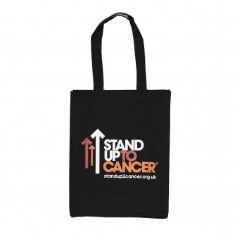 Black Stand Up To Cancer Tote Bag Front